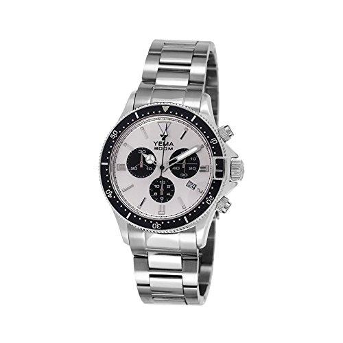 Yema Pro Diver Herren-Armbanduhr, Solarbetrieben, silberfarben und schwarzen Zählern – YMHF1393