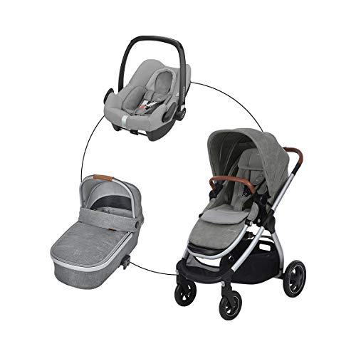 Maxi-Cosi Kombikinderwagen Adorra (Trio-Set) Kinderwagen mit Sportsitz, Babywanne Oria & Babyschale Rock für Babys & Kleinkinder bis 3,5 Jahre