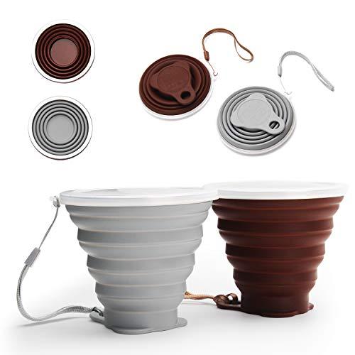 DeHub Tazza da caffè Portatile, Tazza da Viaggio Pieghevole in Silicone, FDA e BPA Senza Coppa da Viaggio Leggera,Maggiore capacità 270ML Tazze da Bere Pieghevoli, 2 Confezioni (Grigio, caffè, 2)