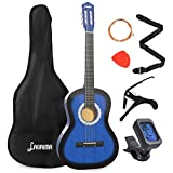 LAGRIMA 38 inch 4/4 Size Beginner Acoustic Guitar Set, Starter Kit with Gig Bag, Capo, Strap, Tuner, Picks & Steel Strings for Kids/Beginners/Adults (Blue)
