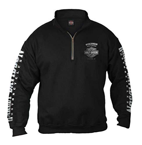 Harley-Davidson Men's Lightning Crest 1/4 Zip Cadet Pullover Sweatshirt, Black