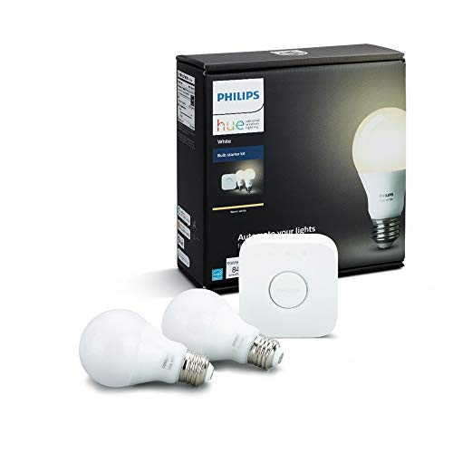 Philips Hue White Personal Wireless Lighting LED Starter Kit, 2 x 8.5W E27 Hue White Bulbs, 1 x Hue Bridge 2.0, Apple Home Kit Enabled, Works with Alexa