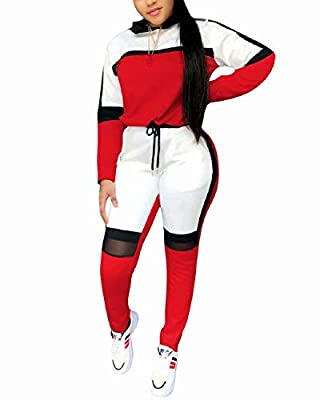 Woman sport joggers 2 piece outfits for women long sleeve/short sleeve high waist patchwork net drawstring sweatsuits tracksuit hoodies tops and sweatpants matching sets Features:hooded,long sleeve/short sleeve,color block,drawstring,patchwork net,hi...