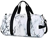 Sport Gym Duffle Travel Bag for Men Women Duffel with Shoe Compartment, Wet Pocket (Marble-White)