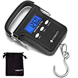 Etekcity Fishing Scale with Backlit LCD Display, 110lb/50kg Digital Electronic Hanging Hook Scale with Batteries and Carry Pouch Included, Black, Non-Slip Handle