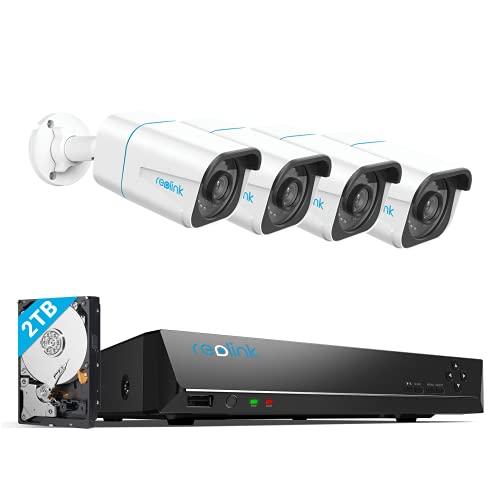 Reolink 4K Kit Videosorveglianza IP PoE, Intelligente Rilevamento di persone e veicoli, 8CH 2TB NVR e 4X 8MP Telecamera Esterno PoE Impermeabile, Visione Notturna, Registrazione 24/7, RLK8-810B4-A