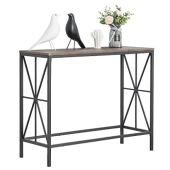 Aingoo mesa consola mesa de centro de madera mesa con estructura de metal para la sala de estar del pasillo, marrón oscuro