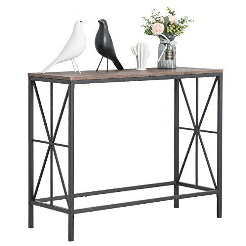 Aingoo Tavolo da Ingresso Industriale per Divano scrivania con Struttura in Metallo a Forma di X per...
