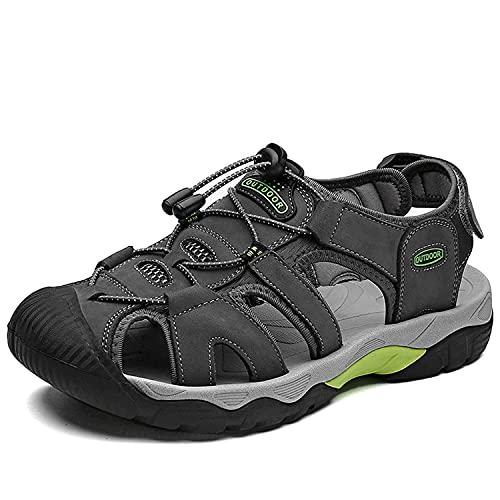 VTASQ Sandalias Hombre Verano Piel, Aire Libre Deportivas Playa Antideslizantes Zapatos Senderismo Sandalias con Punta Cerrada Zapatos de Senderismo Gris 44EU