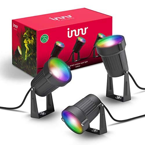 Innr Smart Outdoor Spot Light Colour, set completo, funciona con Philips Hue* y Alexa (requiere puente), intensidad regulable, RGBW, OSL 130C