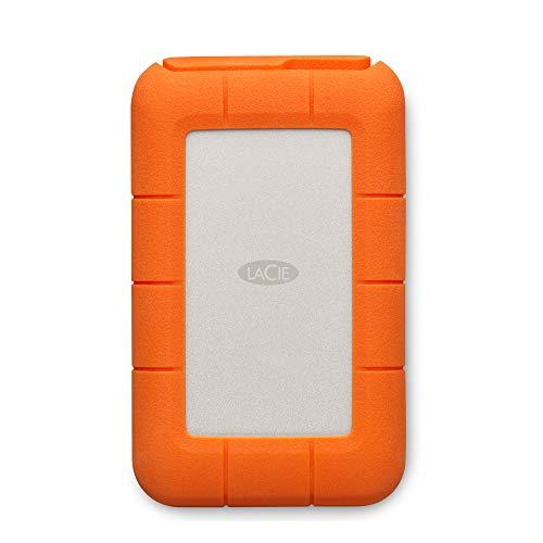 LaCie Rugged, USB-C, 5 TB, Disco duro externo, HDD portátil, USB 3.0, unidad resistente a caídas, golpes, polvo y lluvia, para Mac y PC, 2 años servicios Rescue ( STFR5000800)