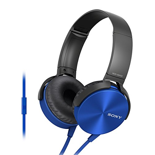 Sony MDR-XB450AP Wired On Ear Headphone with Mic (Blue)