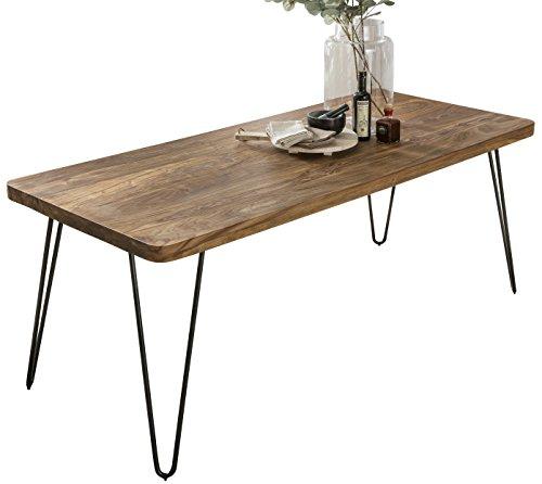 FineBuy Massiver Esstisch Harlem 180 x 80 cm Sheesham Massiv Holz   Esszimmertisch Massivholz mit Design Metall Beinen   Holztisch Tisch Esszimmer   Küchentisch
