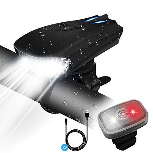 GXIN Luci Bici,Luci Bicicletta LED Ricaricabili USB,Luce Bici LED con 400 Lumen & Impermeabile IPX5,Luci per Bicicletta con 5 modalit di Illuminazione per Bici Strada e Montagna- Sicurezza per Notte