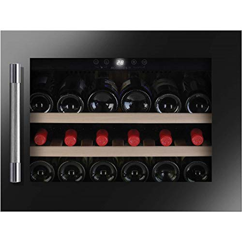 Cave à vin encastrable de vieillissement Rosieres RWCB45 - Cave de vieillissement- Capacité : 18 bouteilles - Froid ventilé - Noir - Porte Vitrée - 2 clayettes Bois naturel - classe A