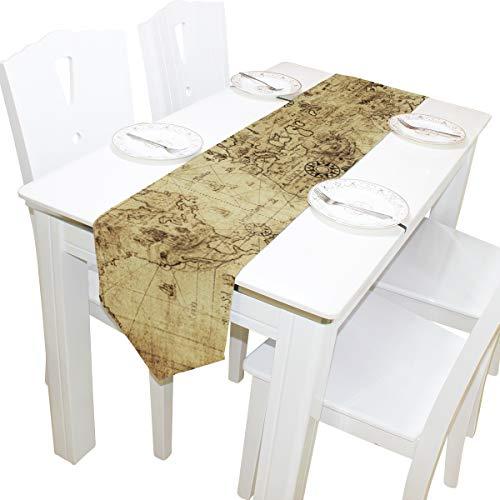 Bennigiry ancienne carte du monde vintage chemin de table Home Décor, Long...