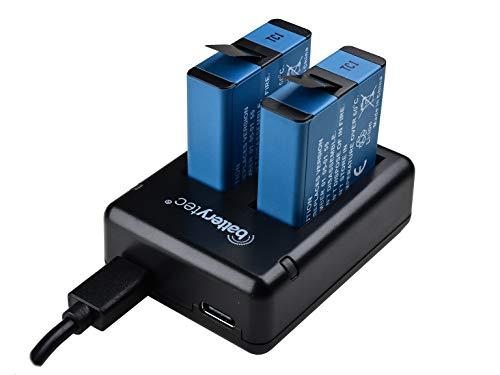 Batterytec Batteria di ricambio (2park) per GoPro HERO 8 Black, HERO 7 Black, HERO 6 Black, HERO 5 Black + kit caricabatteria doppio.