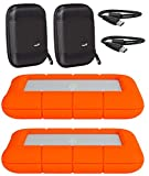 LaCie 2 Pack 4TB Rugged Mini USB 3.0 2.5' Portable External Hard Drives Compatible with Mac and PC - Water and Drop Resistance with Compact Pocket Cases