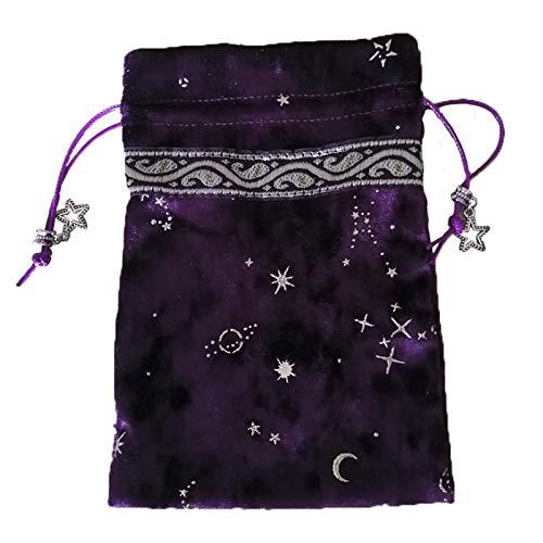 Black/Purple Velvet Tarot Card Storage Bag, Constellation...