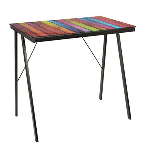 ts-ideen - Escritorio Mesa de café para Ordenador Metal y Cristal, Negro con Imagen de Stripes 80 x 50 cm