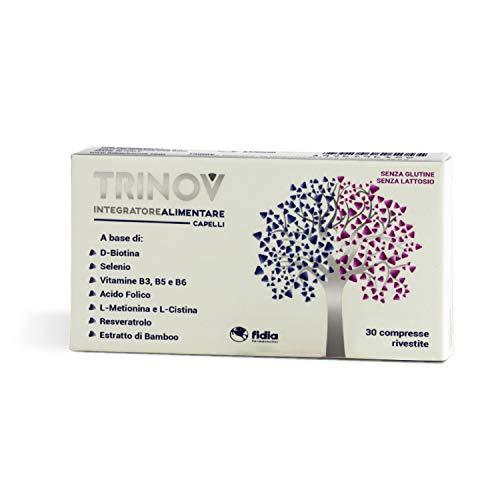 Trinov integratore Alimentare capelli   Riporta il capello al suo benessere fisiologico   Senza Glutine e senza Lattosio   Confezione da 30 COMPRESSE