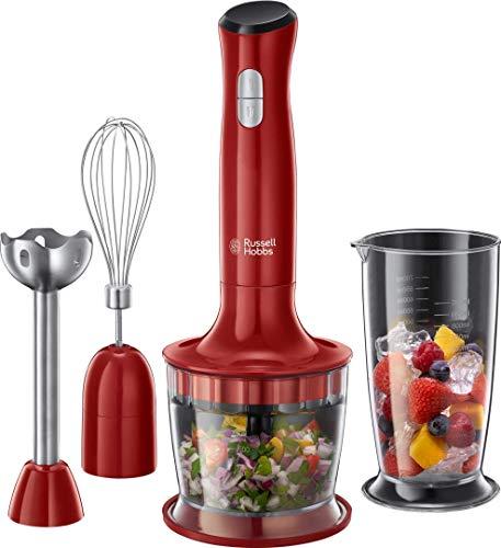 Russell Hobbs Mixeur Plongeant Multifonction 3en1 500ml, Mélange, Hache, Fouette, Mixe, Compatible Lave Vaisselle - Rouge 24700-56 Desire