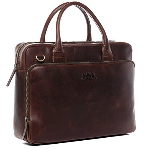 """SID & VAIN Laptoptasche echt Leder Ryan XL groß Businesstasche 15\"""" Laptop Umhängetasche Aktentasche Laptopfach Ledertasche Unisex braun"""