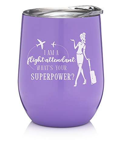 Flight Attendant Gifts - 12oz Wine Tumbler with Lid -...