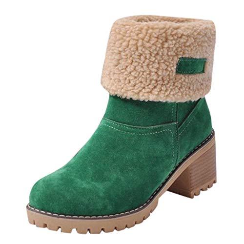 Logobeing Botas Mujer Invierno Botines Mujer Tacon Alto Plataforma Botas Mujer Cuñas Zapatos de Invierno Botas de Nieve Calzado Botas Cálidas Flock Altas(40,Verde)