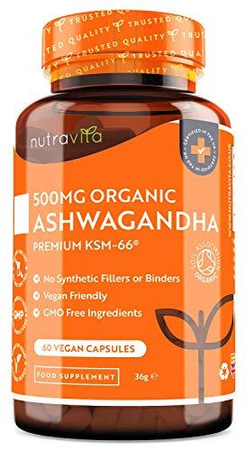 Ashwagandha Bio 500mg - Puro ad Alta Qualità KSM-66 Senza Riempitivi - Integratore Vegano Naturale di Withania Somnifera (Ginseng Indiano) - Rimedio Erboristico Ayurveda - Prodotto da Nutravita