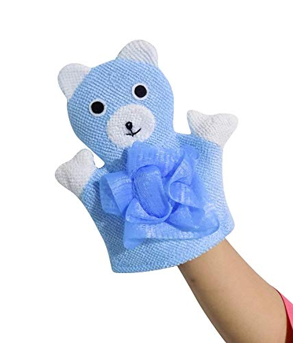 SOME-THING DIFFERENT Super Soft Cotton Baby Bath Shower Brush Glove Cute Animal Pattern Children Sponge Rubbing Towel Ball Blue Pack Of 1