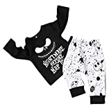 Toddler Baby Boy Clothes 2Pcs Outfit Set Nightmare Printing Long Sleeve and Skull Pants Clothing Set(6-12Month,80) Black