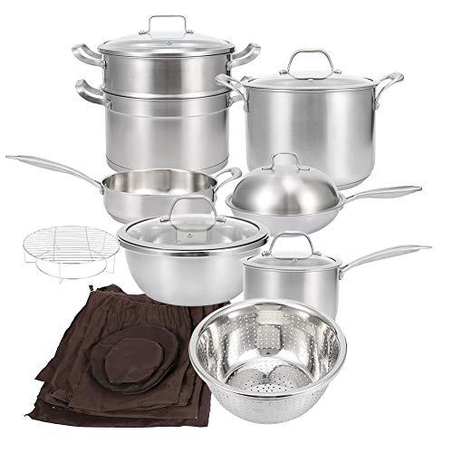 Kit di batterie utensili da cucina in acciaio inox, pentola a vapore con coperchio in vetro temperato con setaccio per riso e contenitore per latte per cucina