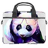 Panda con gafas de uso portátil caso de lona patrón maletín manga portátil hombro mensajero bolsa caso caso para 13.3-14.5 pulgadas MacBook portátil maletín