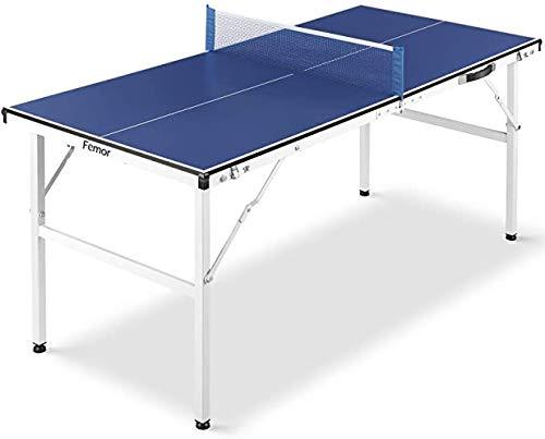 FEMOR Tischtennisplatte, 150 x 70 x 67 cm Mini Tischtennisplatte, Tischtennistisch für Indoor & Outdoor, Klappbare Tischtennisplatte perfekt für den kleinen Garten oder für die Wohnung geeignet, Blau