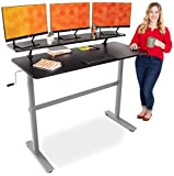 "Stand Steady Tranzendesk 55 in Standing Desk with Clamp On Shelf | Easy Crank Height Adjustable Stand Up Workstation w/Attachable Monitor Riser | Holds 3 Monitors & Adds Desk Space (55""/Silver Base)"
