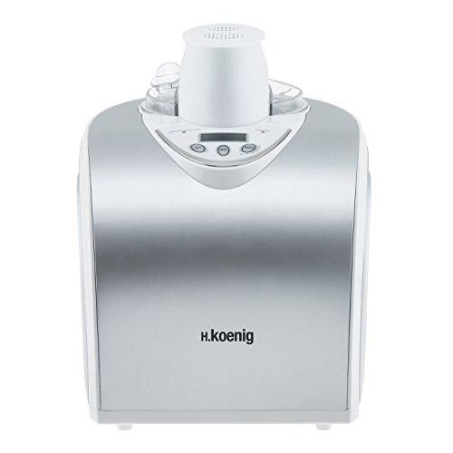 H.Koenig HF180 Macchina per Gelati e Sorbetti, Gelatiera, 1L, Programmabile, Gelato pronto in 40min, Gruppo freddo integrato, Acciaio Inox, 135W