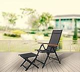 Strandgut07 Aluminium Klappstuhl 2er Set Hochlehner Gartensessel Aluminiumsessel 4×4 Textilen Armlehnen aus Akazie schwarz - 6