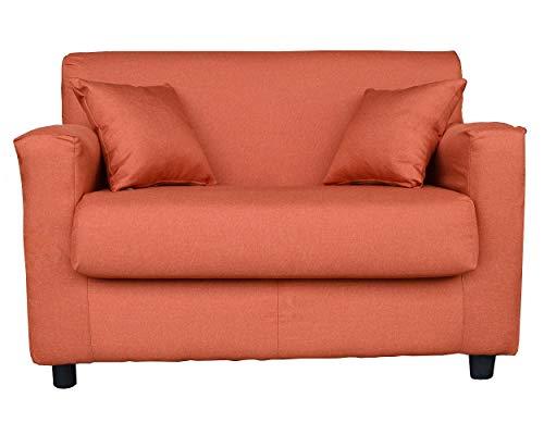 Divano mini sfoderabile 2 posti in tessuto imbottito con braccioli larghezza 118 cm (Arancio)