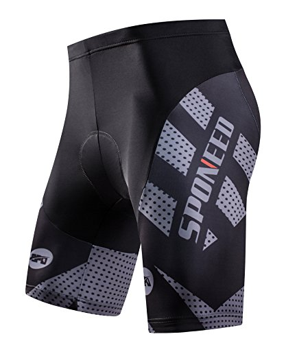 sponeed Mens Bike Shorts with Padding Bicycle Road Biking Pants Gel Padds US X-Large Grey