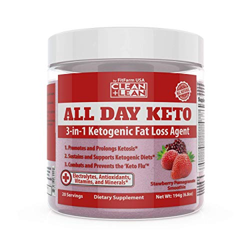 All Day Keto 3-in-1 Ketogenic Fat Loss Agent MCT Oil Extract, Organic Caffeine, prebiotic Inulin Fiber, Aquamin Aquatic Mineral Complex + Immunity Vitamins antioxidants 1