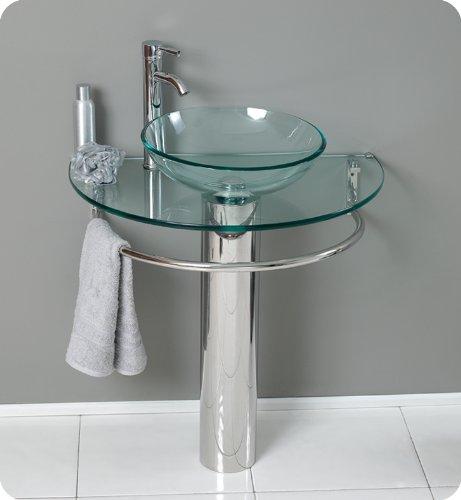 ARANAUT Moduler Vanity Wash Basin/Glossy Finish/Bathroom Sink/Vessel Sink Clear Batla Set with Shelf...