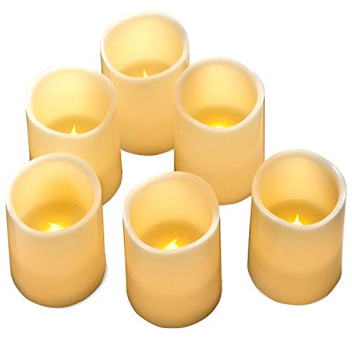 Hayley Cherie - Real Wax Flameless Candles with Timer (Set of 6) - Ivory LED Candles 3 Wide x 4 Tall - Flickering Amber Flame - Battery Operated Pillar Candles - Large Unscented
