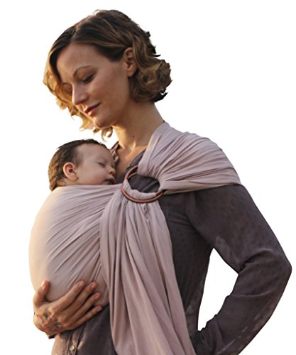 Nalakai Luxury Ring Sling Baby Carrier  Extra-Soft Bamboo and Linen Fabric - Lightweight wrap - for Newborns, Infants and Toddlers - Perfect Baby Shower Gift - Nursing Cover (Warm Sand)