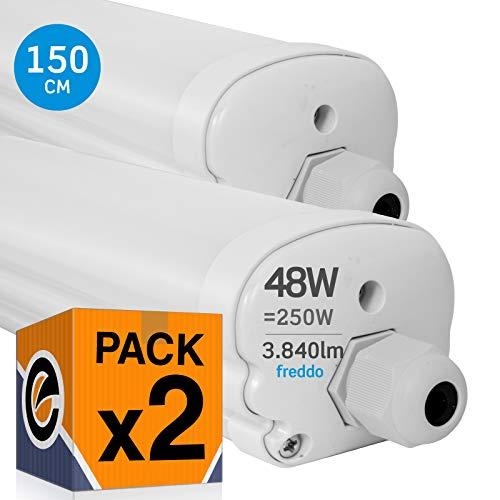 2x Plafoniere LED 48W 150cm Impermeabile IP65 3840 lumen - Forma: Tubo - Luce Bianco Freddo 6000K - Fascio Luminoso 120