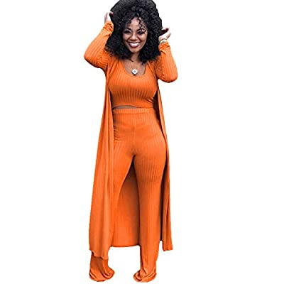 Crop Top+ Cardigan + Bodycon Pants, 3 Piece Outfit for women Material:Cotton Knitted Feature: 3 Piece Outfits, Solid Color, Round Neck Crop Tank Top, Long Sleeve Outwear Coat, High Waist Long Pants, Wide Leg Pants, Open Front Cardigans Cover up, Wome...