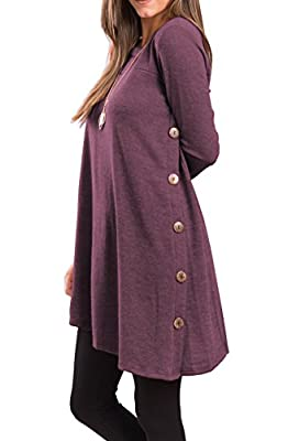 Material:95% Polyester,5% Spandex. Weight:200GSM.With elasticity, feeling soft and warm. Features:Long Sleeve, Irregular Hem,Side Wooden Button Design. Garment Care:Machine wash cold, gentle cycle,No shrinkage,No See through. Hand Feeling: Soft fabri...
