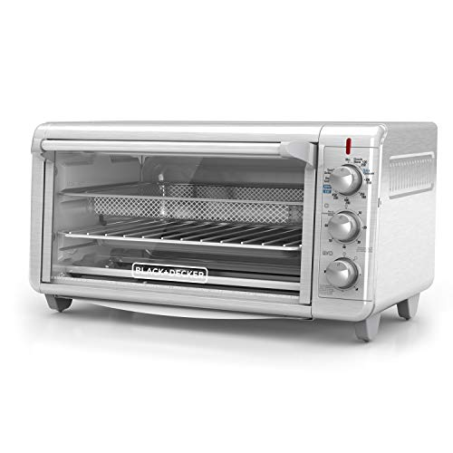 Black+Decker TO3265XSSD Extra Wide Crisp N Bake Air Fry Toaster Oven, Silver, Fits 9' x 13' Pan