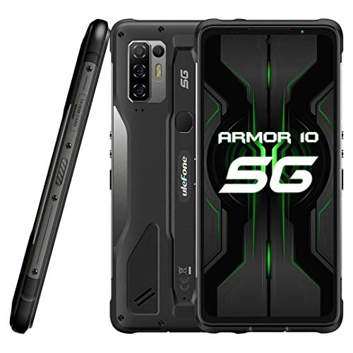 5G Rugged Smartphone Ulefone Armor 10【2021】, Dimensity 800 8GB RAM 128GB ROM 2TB External SD, 64MP Quad AI Camera, Android 10 IP68 Outdoor Mobile phone, 6.67'' FHD+, Wireless Charge NFC HiFi DUAL SIM