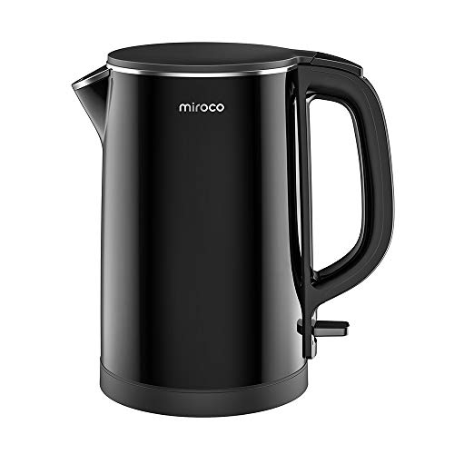 Electric Kettle, Miroco 1.5L Double Wall 100% Stainless Steel BPA-Free Cool Touch Tea Kettle with Overheating Protection, Cordless with Auto Shut-Off
